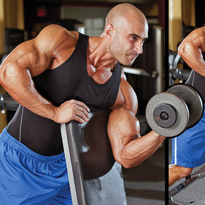 Single Arm Dumbbell Scott Curl